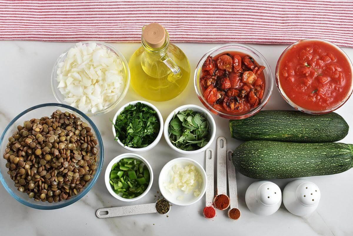 Ingridiens for 30 Minute Spicy Lentil Bolognese