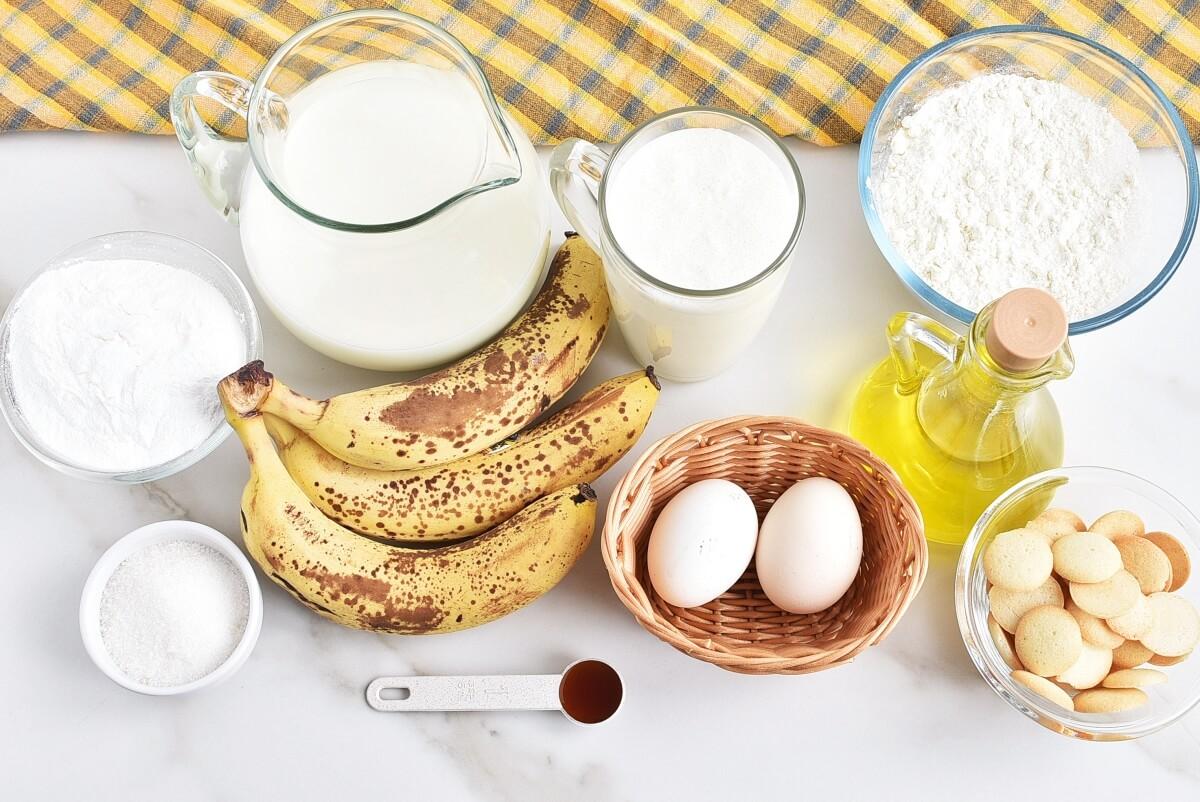 Ingridiens for Banana Pudding Poke Cake