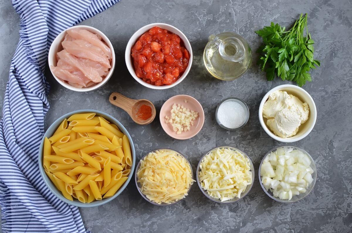 Ingridiens for Chicken Pasta Bake