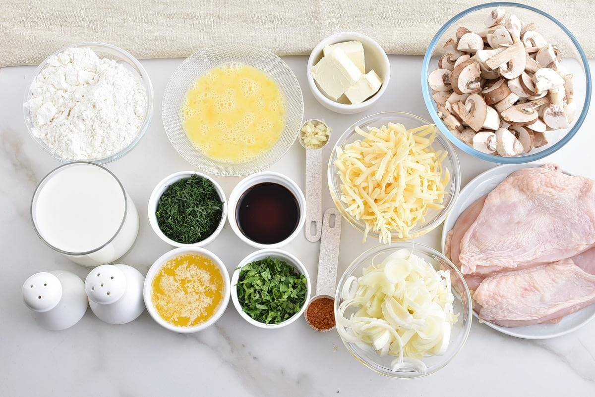 Ingridiens for Chicken and Mushroom Crepes