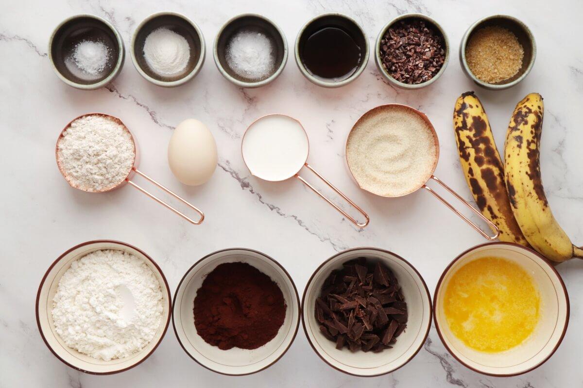 Ingridiens for Chocolate Banana Rye Muffins