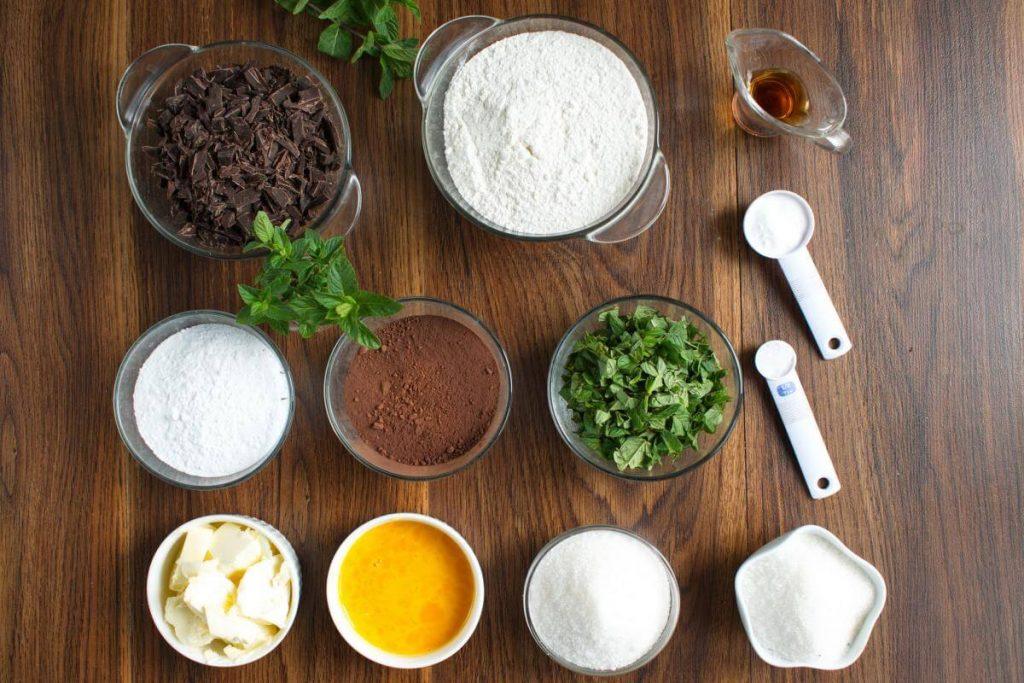 Ingridiens for Chocolate Mint Crinkle Cookies