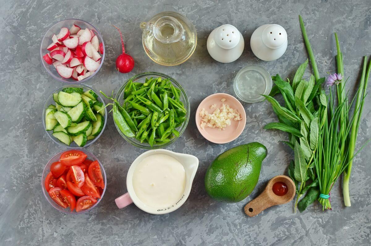 Ingridiens for Chopped Spring Salad