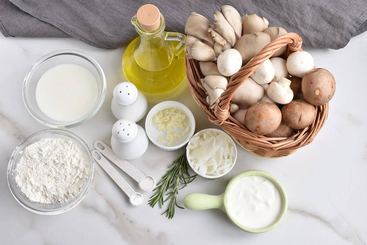 Ingridiens for Vegan Creamy Mushroom Crepes