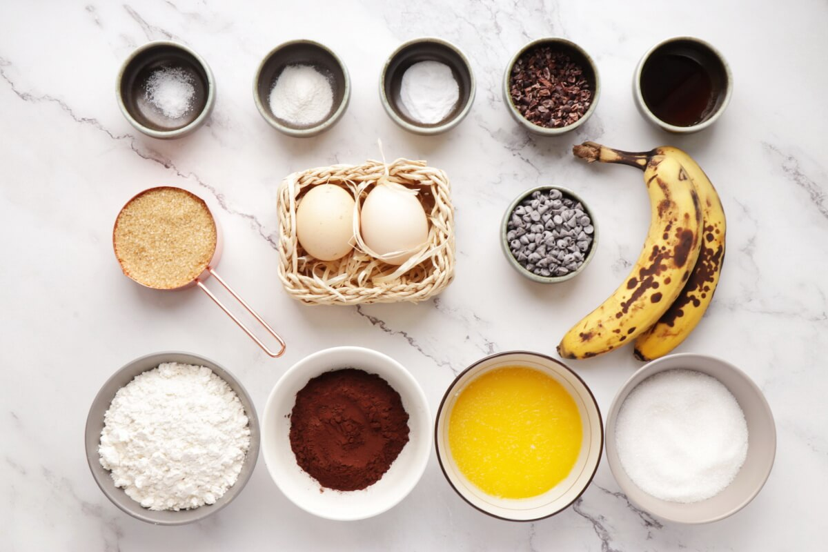 Ingridiens for Double Chocolate Banana Bread