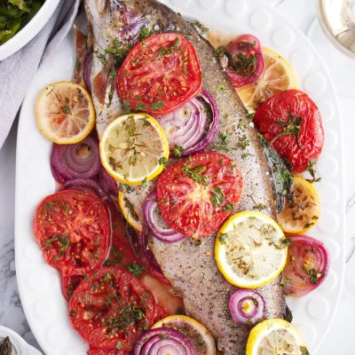 Easy Roasted Whole Trout Recipe-Quick Easy Oven Baked Trout-Baked Fresh Rainbow Trout