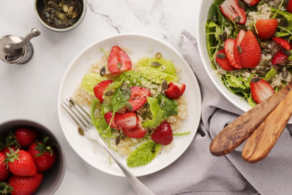 Kale Breakfast Salad with Quinoa & Strawberries Recipe-Strawberry Quinoa Kale Salad-Spring Salad