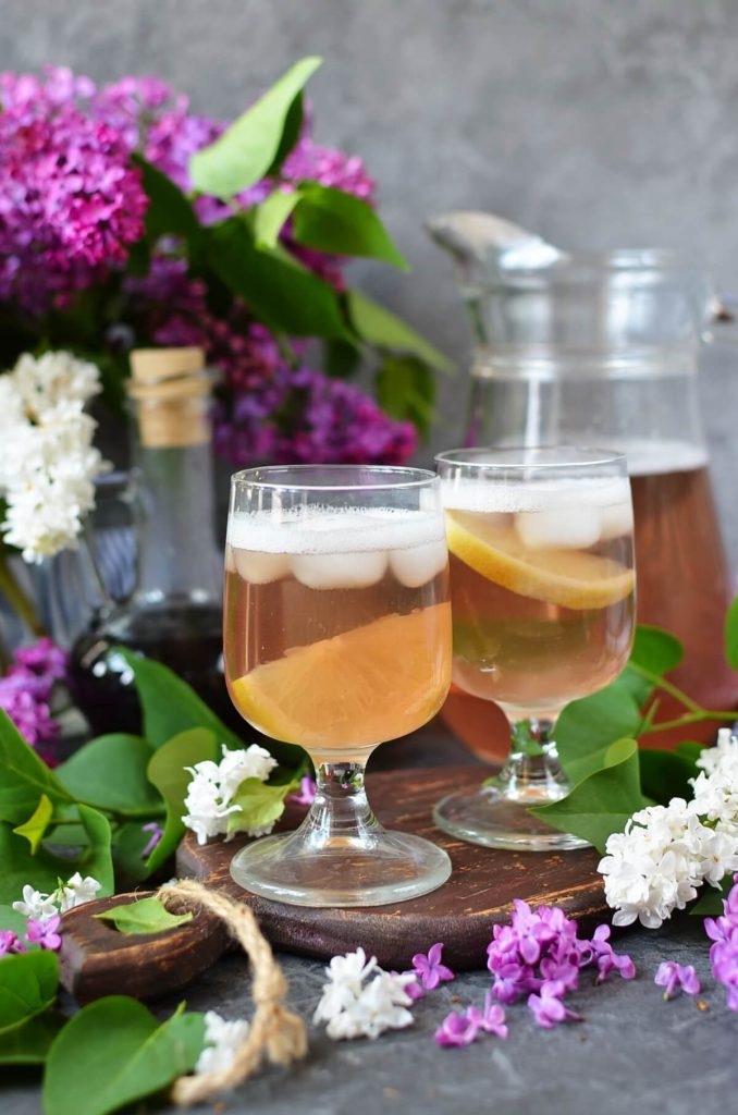 Shandy Cocktail Made With Lilac Florets