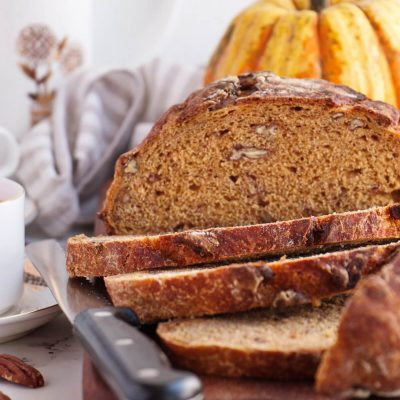 No-Knead Pecan Pumpkin Bread Recipe- No Knead Bread-Dutch Oven Pumpkin Bread