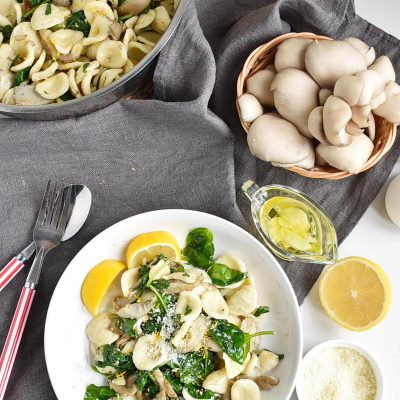 Oyster Mushroom and Spinach Orecchiette Recipes–Homemade Oyster Mushroom and Spinach Orecchiett –Easy Oyster Mushroom and Spinach Orecchiette