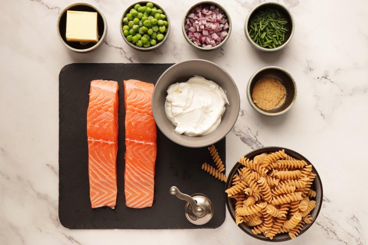 Ingridiens for Pasta with Salmon & Peas