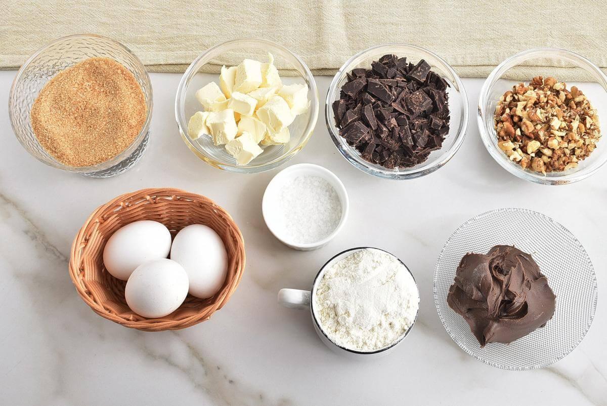 Ingridiens for Salted Chocolate & Hazelnut Brownies