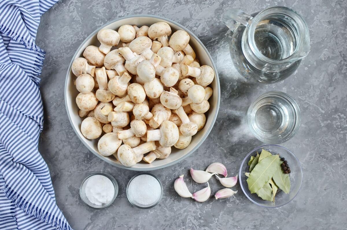 Ingridiens for So Easy Pickled Mushrooms