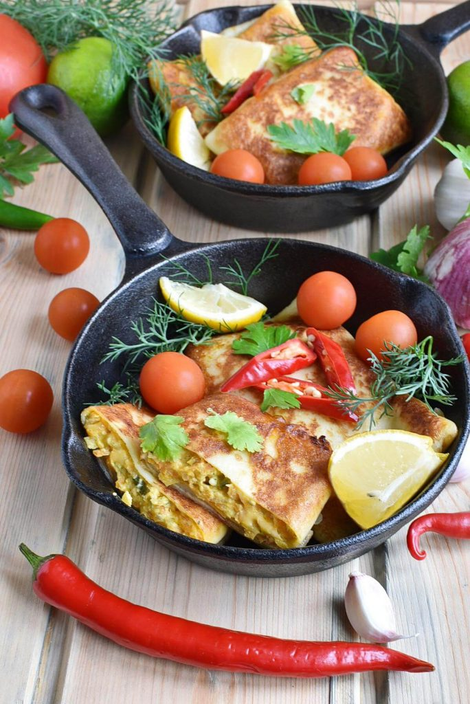 Savory, Cheese and Spicy Veggie Crepes