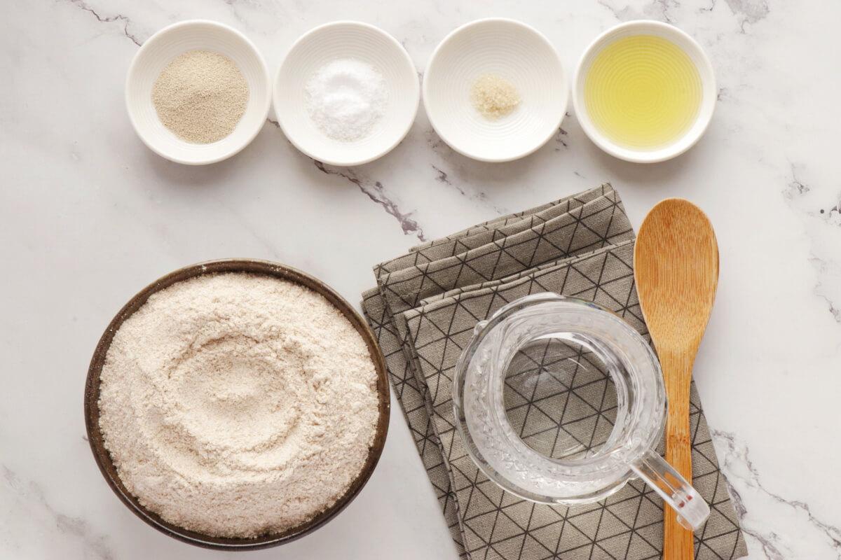 Ingridiens for Whole Wheat Pita Bread