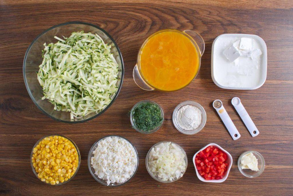 Ingridiens for Zucchini, Corn & Egg Casserole