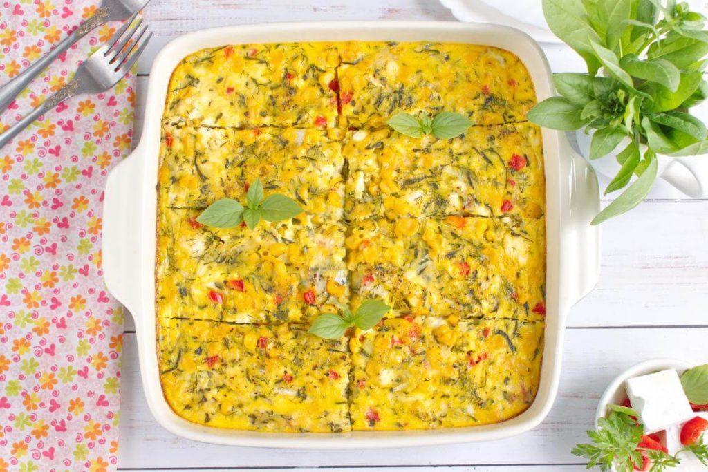 Zucchini, Corn & Egg Casserole Recipe - Sweet Corn and Zucchini casserole - Easy Zucchini Corn Egg Casserole