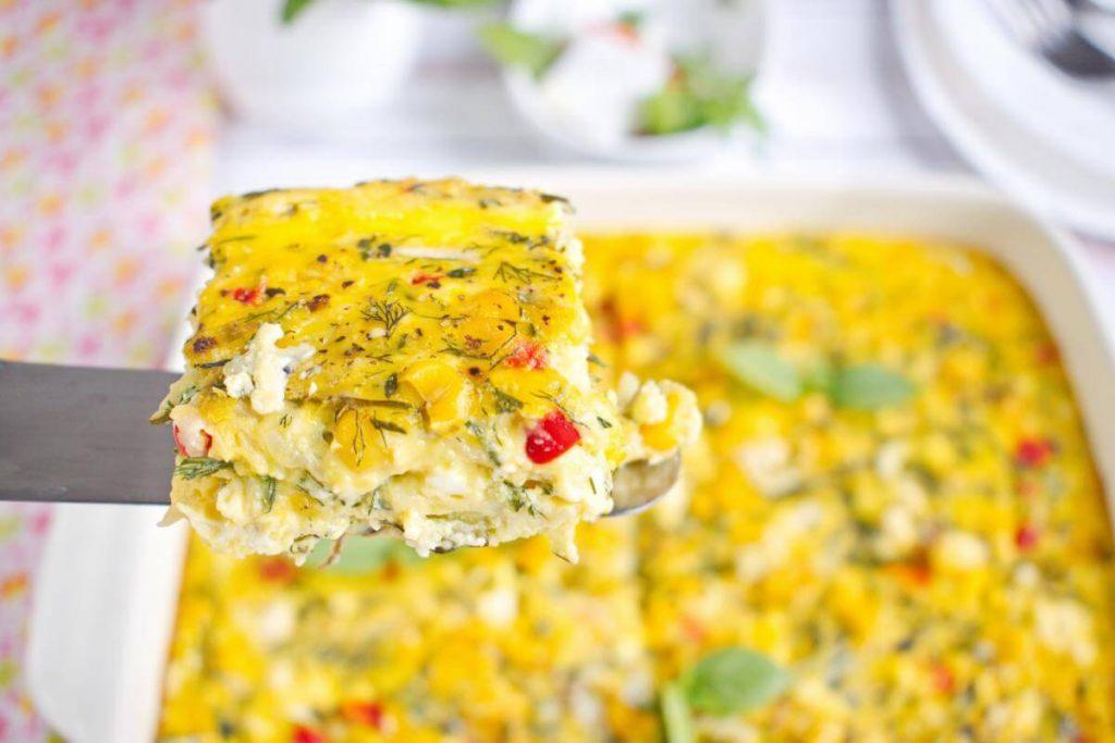 How to serve Zucchini, Corn & Egg Casserole