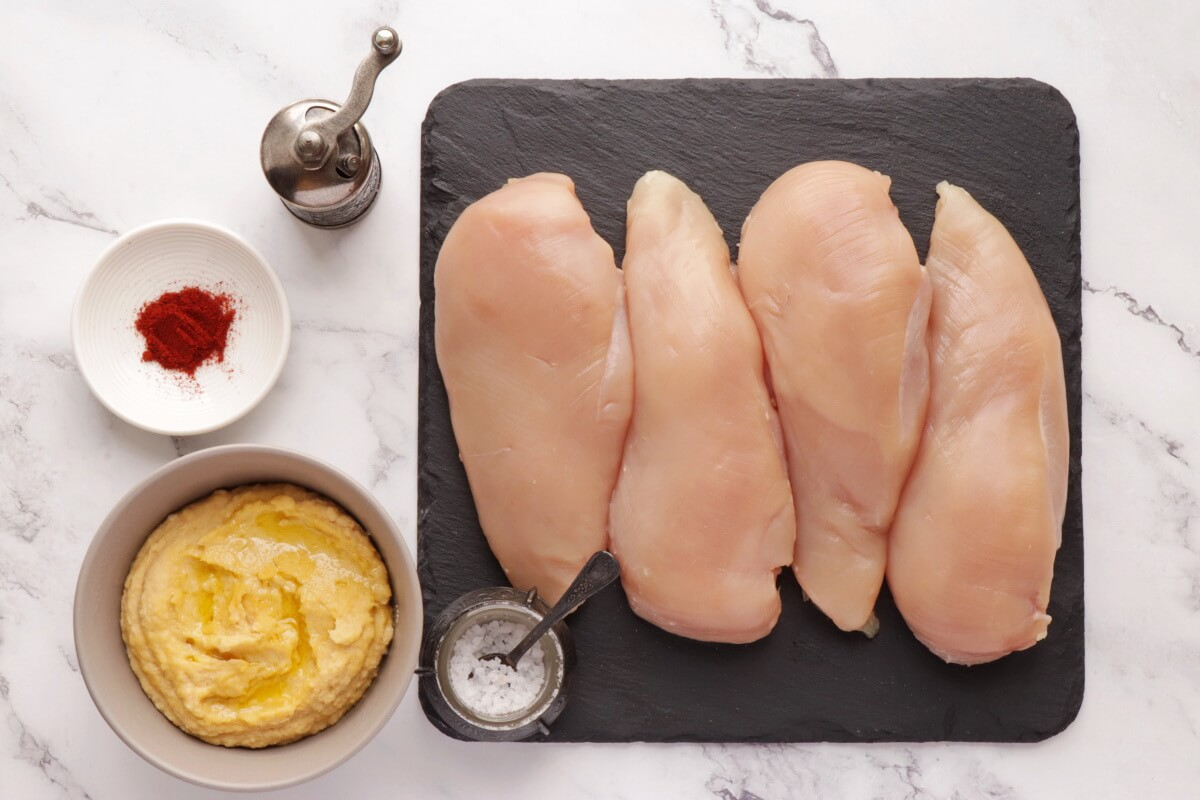 Ingridiens for 3-Ingredient Hummus-Crusted Chicken