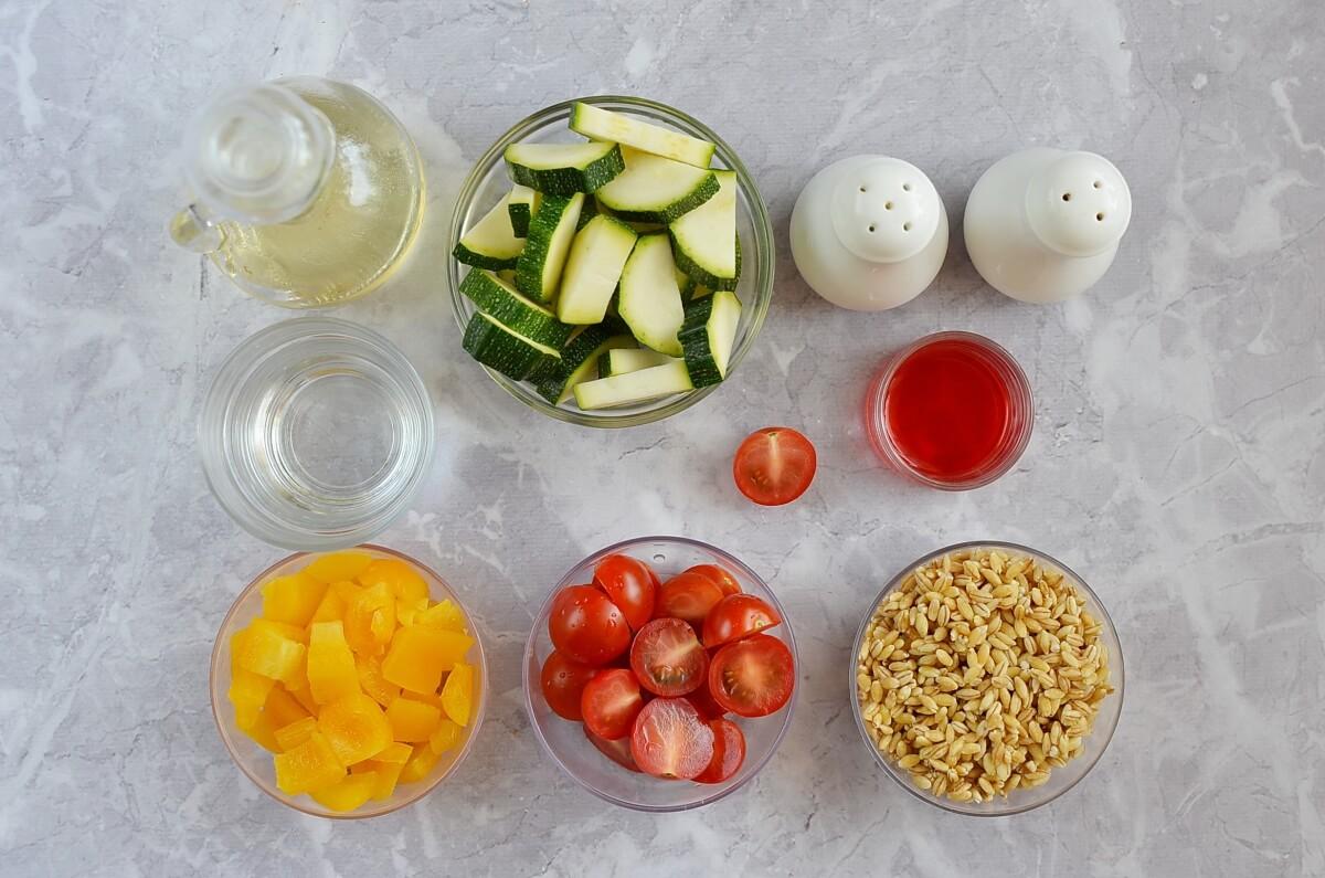 Ingridiens for Barley & Zucchini Jar Salad