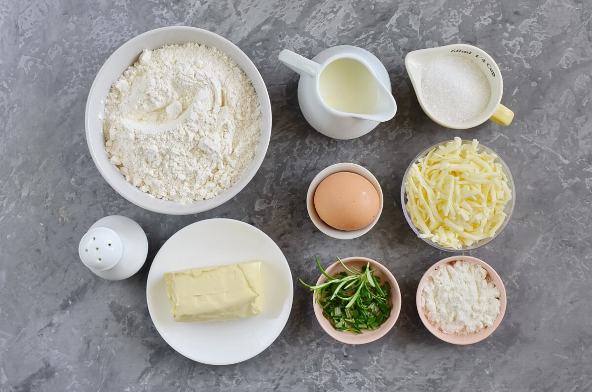 Ingridiens for British Cheddar and Rosemary Scones