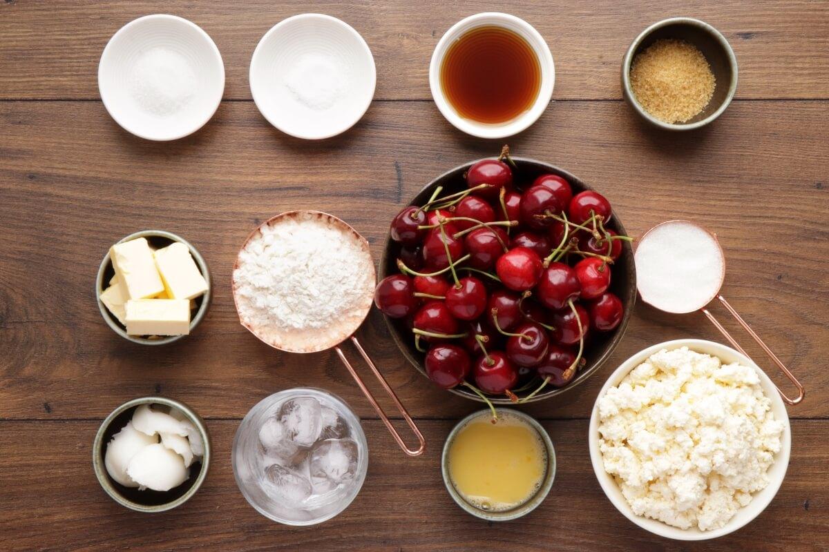 Ingridiens for Cherry Vanilla Ricotta Crostata