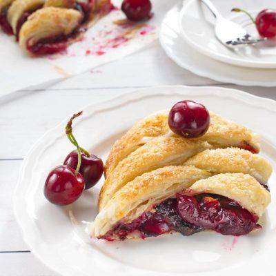 Cherry and Chocolate Danish Braid recipe - Cherry Chocolate Danish Braid - Braided Tart Cherry & Chocolate Danish Pastries