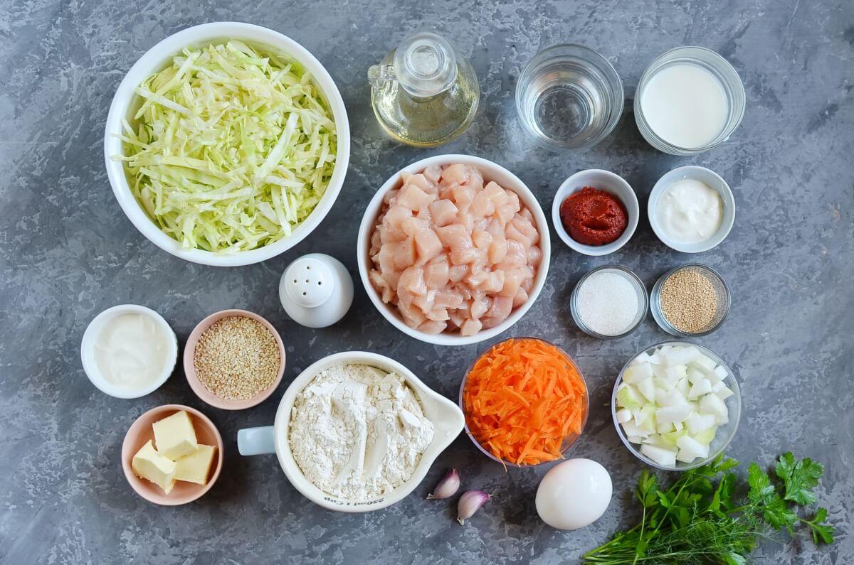 Chicken Cabbage Savory Pirog Recipe-How To Make Chicken Cabbage Savory Pirog-Delicious Chicken Cabbage Savory Pirog