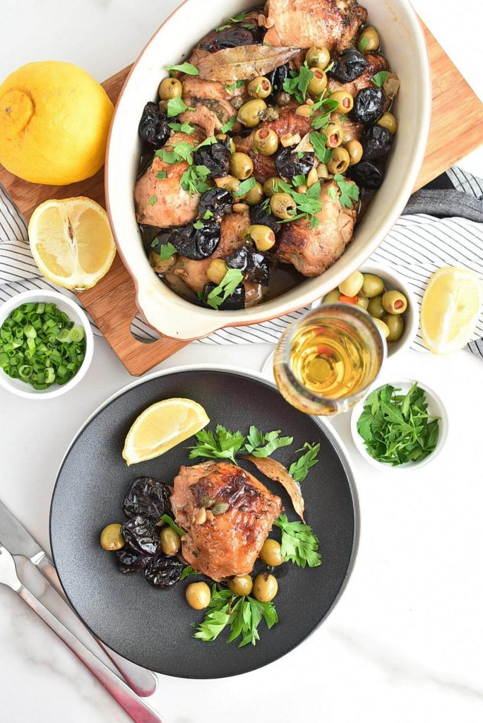 Roasted Chicken, Garlic, Prunes, Olives and Capers