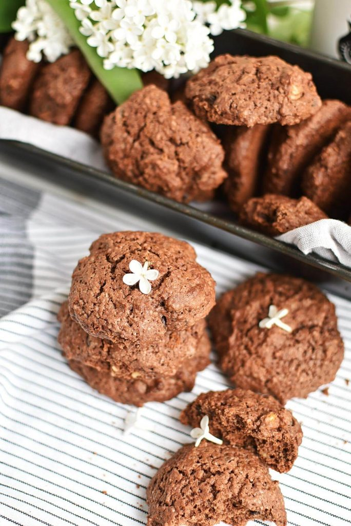 Cocoa and Chocolate Chip Cookies with Walnuts