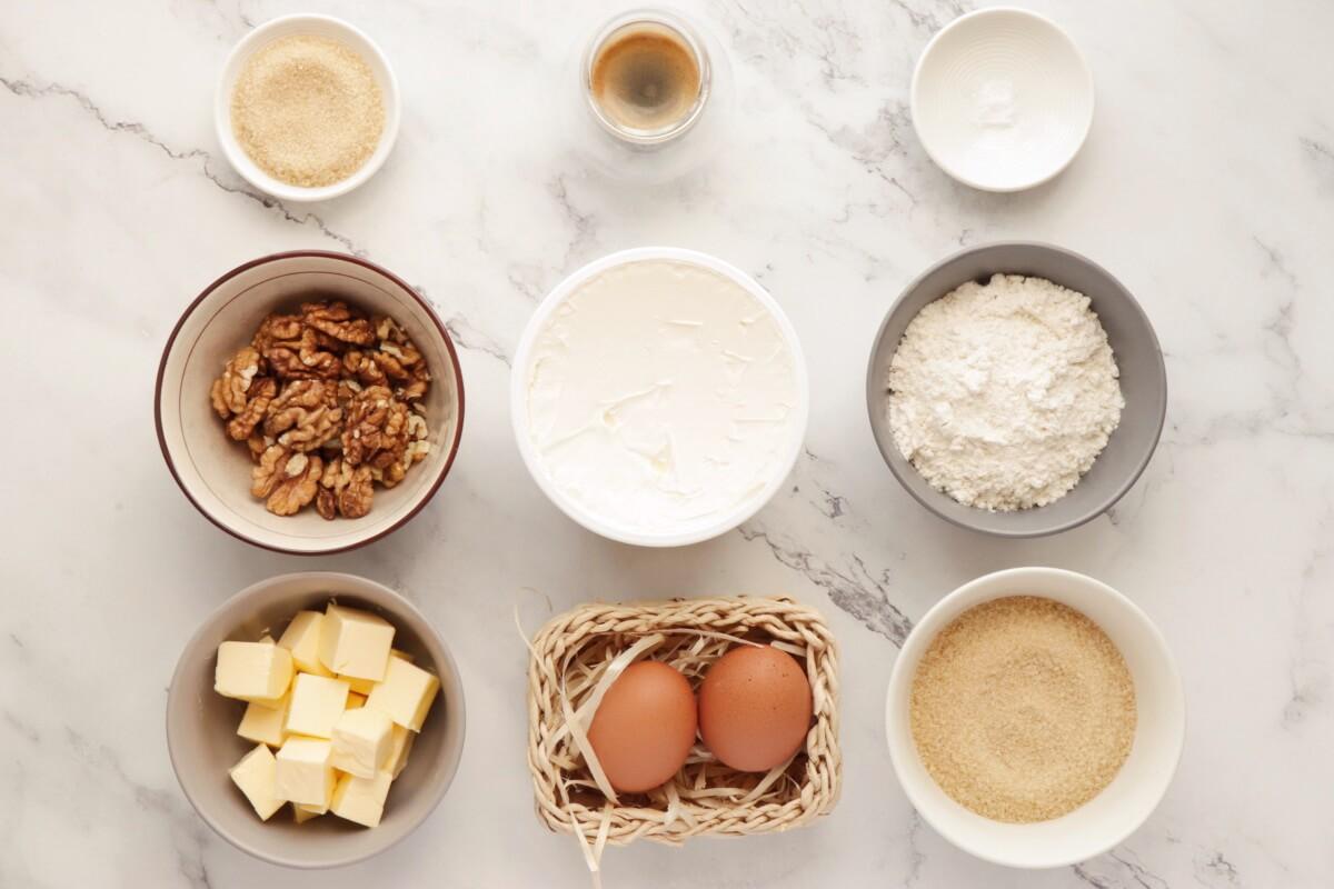 Ingridiens for Coffee Cream & Walnut Cupcakes