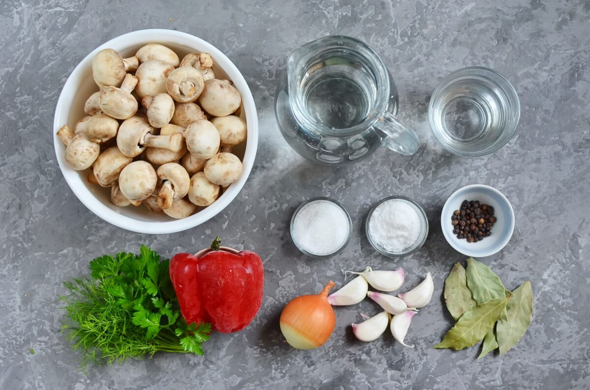 Ingridiens for Easy Marinated Mushrooms
