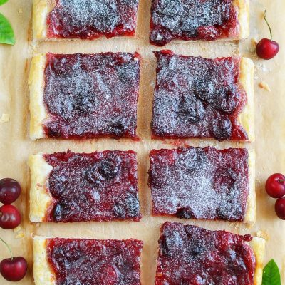 Easy cherry puff pastry tart Recipe-How To Make Easy cherry puff pastry tart-Homemade Easy cherry puff pastry tart
