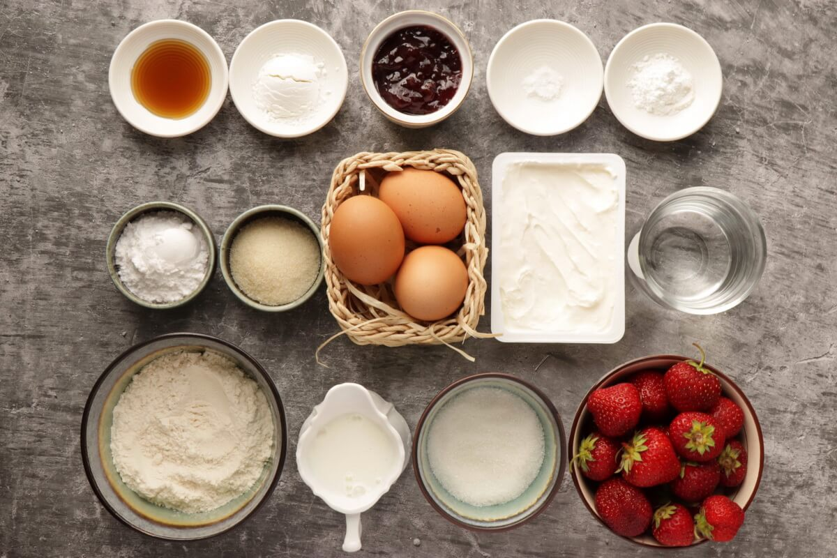 Ingridiens for Fresh Strawberry Cake