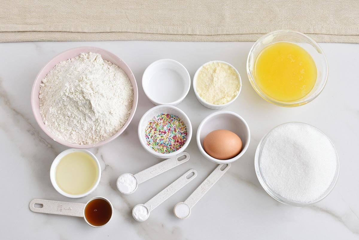Ingridiens for Funfetti Sugar Cookies