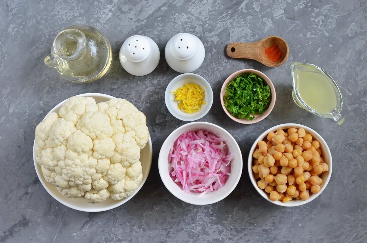 Ingridiens for Herby Cauliflower Salad with Chickpeas