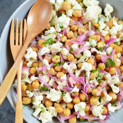 Herby Cauliflower Salad with Chickpeas Recipe-How To Make Herby Cauliflower Salad with Chickpeas-Delicious Herby Cauliflower Salad with Chickpeas