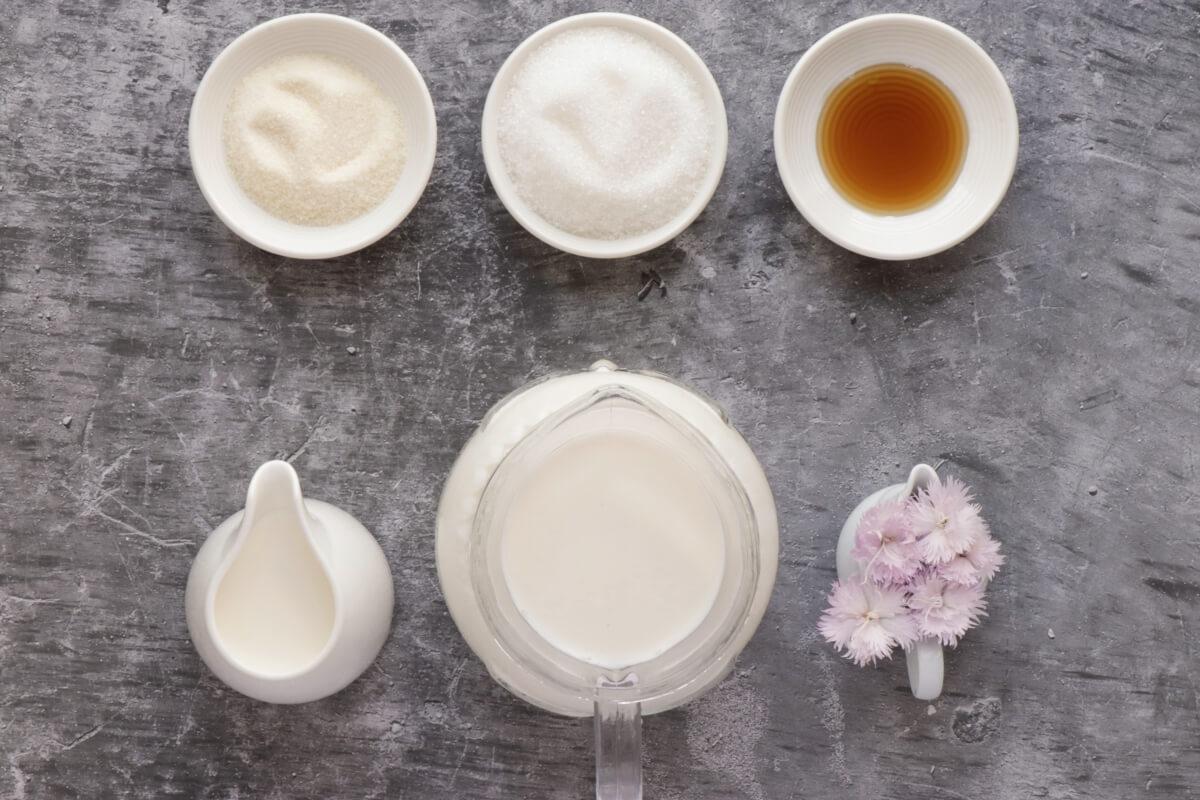 Ingridiens for Japanese Milk Pudding