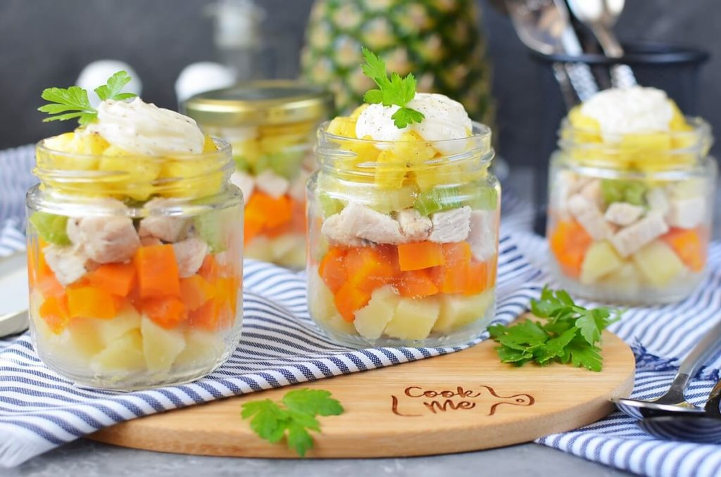 Jar Chicken Salad with Pineapple and Potatoes Recipe-How To Make Jar Chicken Salad with Pineapple and Potatoes-Delicious Jar Chicken Salad with Pineapple and Potatoes