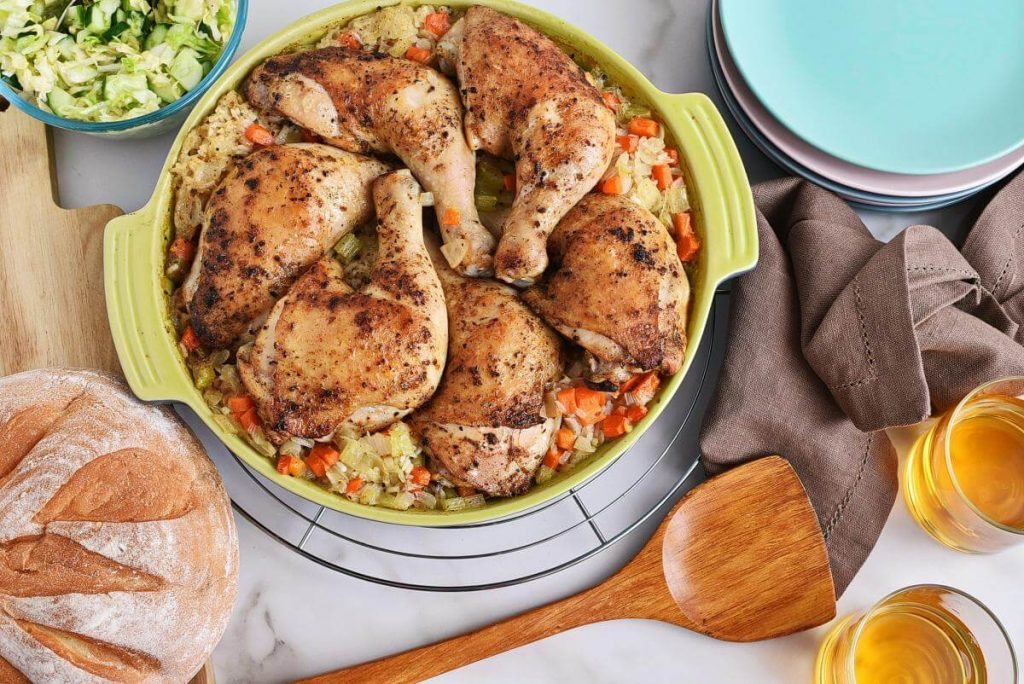 How to serve Mom's Roasted Chicken and Rice