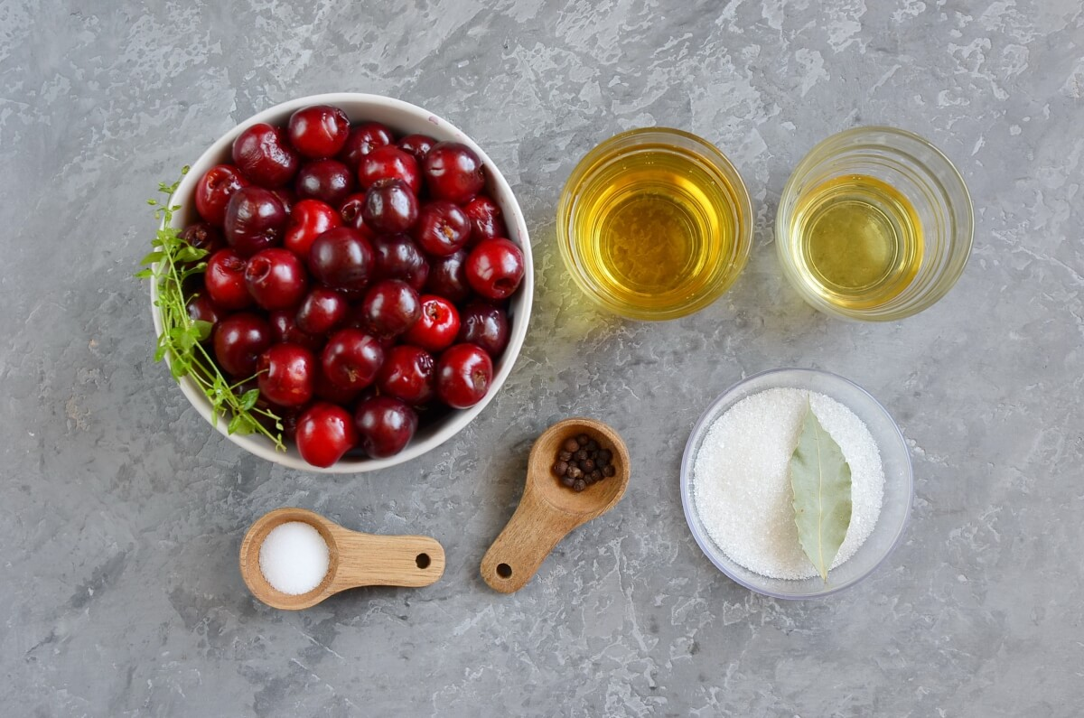 Ingridiens for Quick-Pickled Cherries