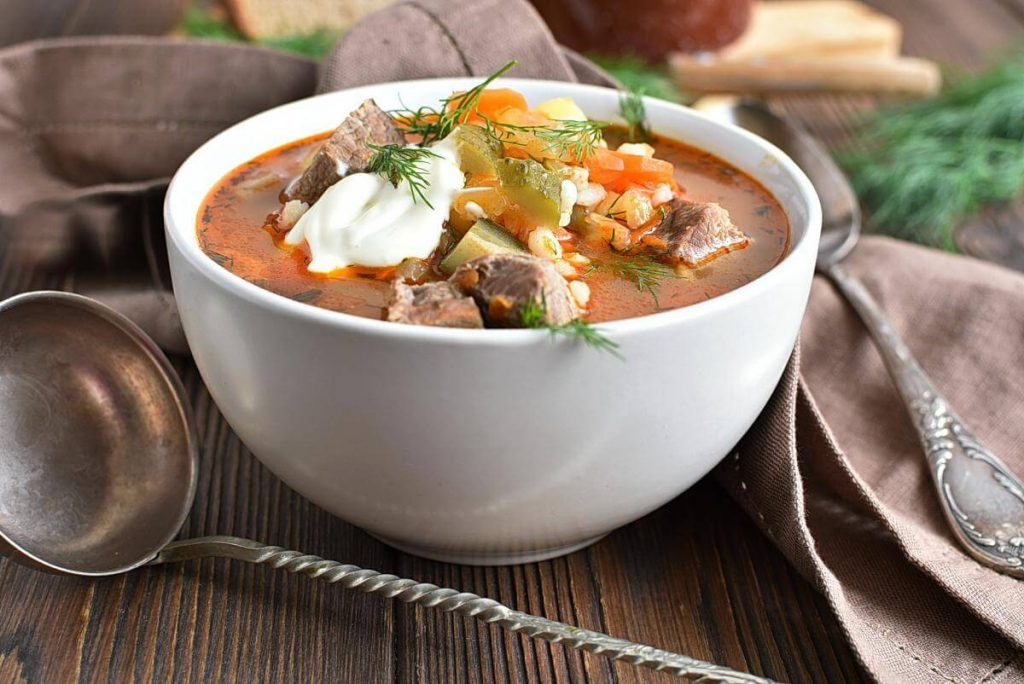Rassolnik (Beef, Barley and Pickle Soup) Recipes–Homemade Rassolnik (Beef, Barley and Pickle Soup)–Delicious Rassolnik (Beef, Barley and Pickle Soup)