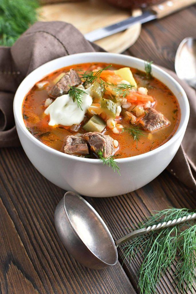Russian Rassolnik, Beef and Veg Soup