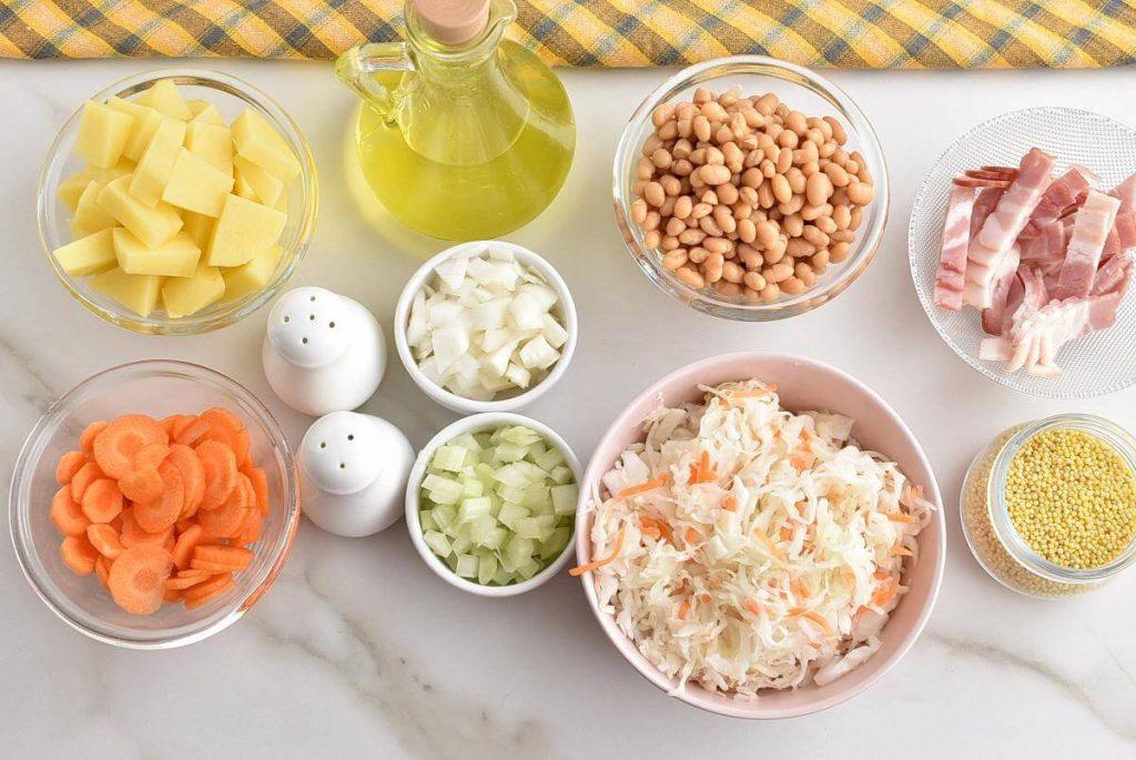 Ingridiens for Sauerkraut Soup (Kapustnyak)