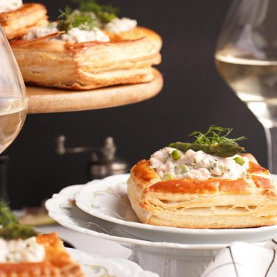 Smoked Trout & Asparagus Vol-au-Vent Filling Recipe-Trout Asparagus Canapes-Puff Pastry with Trout and Asparagus