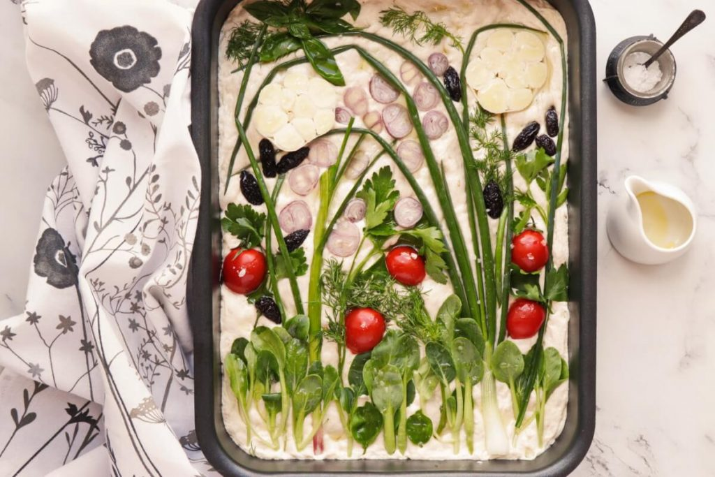 Sourdough Focaccia with Floral Art recipe - step 9