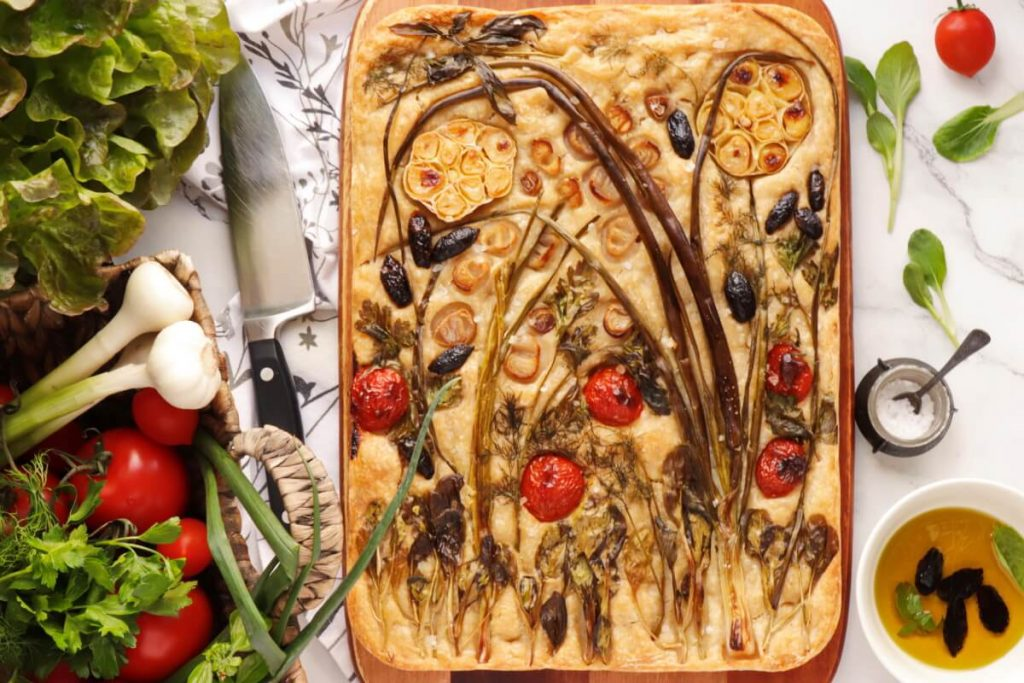 How to serve Sourdough Focaccia with Floral Art