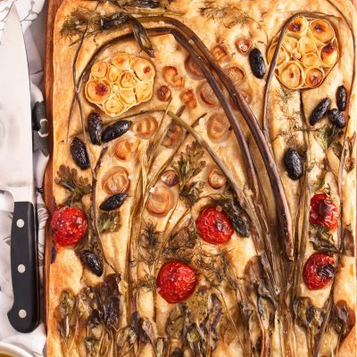 Sourdough Focaccia with Floral Art Recipe-Focaccia Bread Art Recipe-Focaccia Bouquet