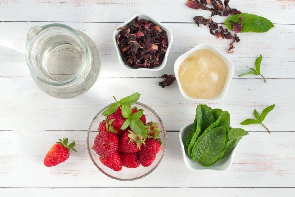 Ingridiens for Strawberry Honey Hibiscus Iced Tea