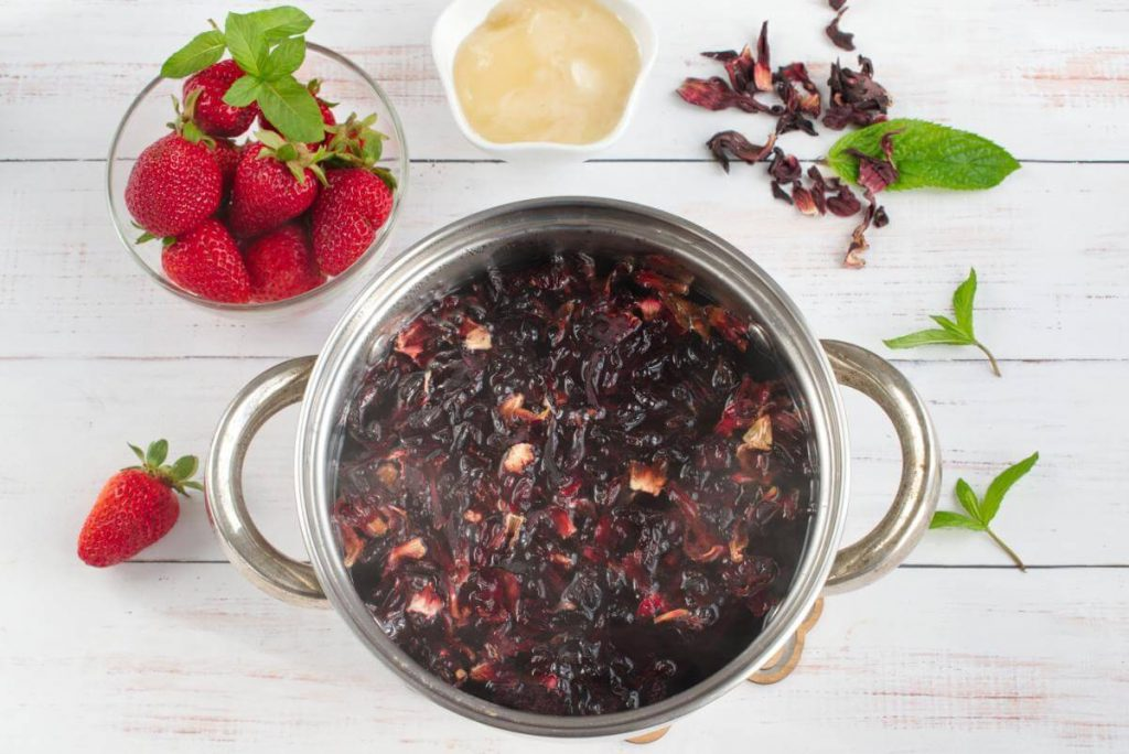 Strawberry Honey Hibiscus Iced Tea recipe - step 1